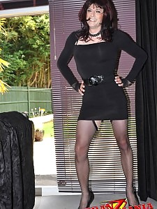 Sexy crossdresser Gloria showing off for the camera