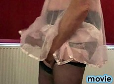 Pantie loving sissy rubs his pantie covered dick